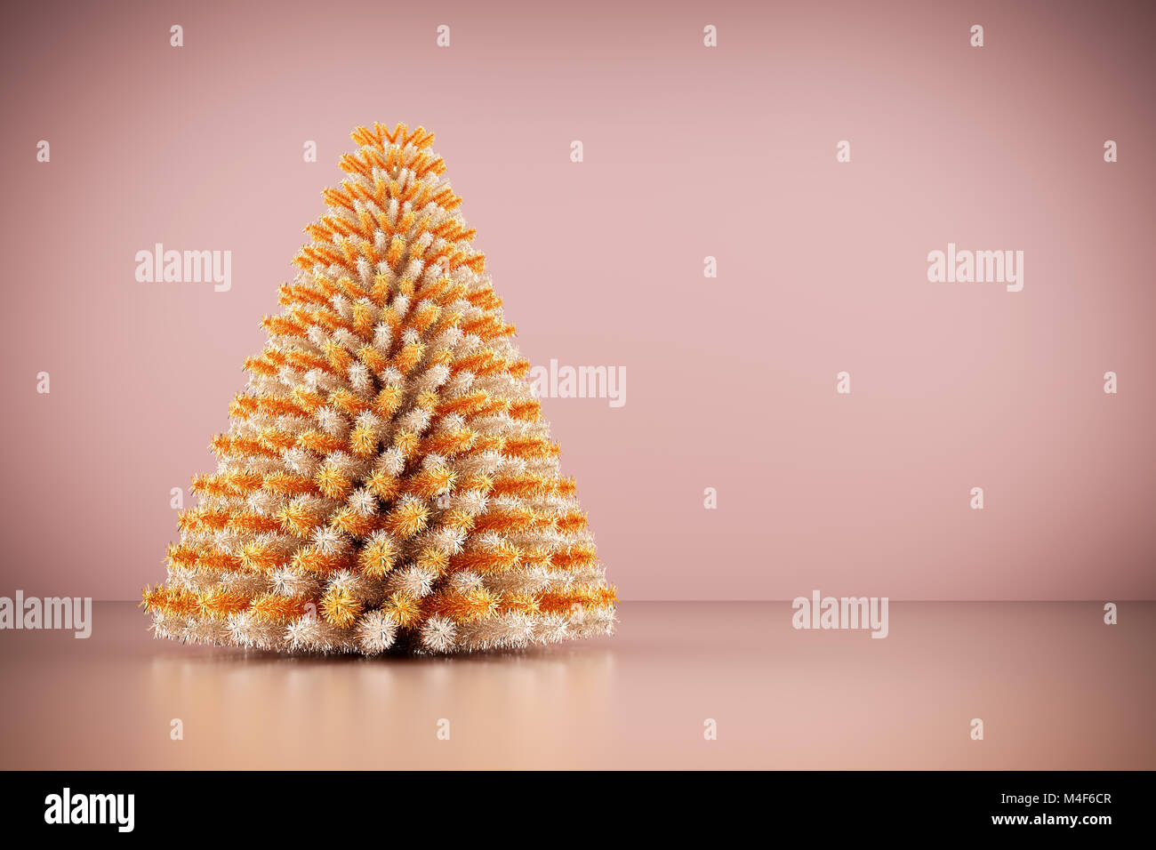 Shining Modern Christmas Tree On Rose Gold Wall Background