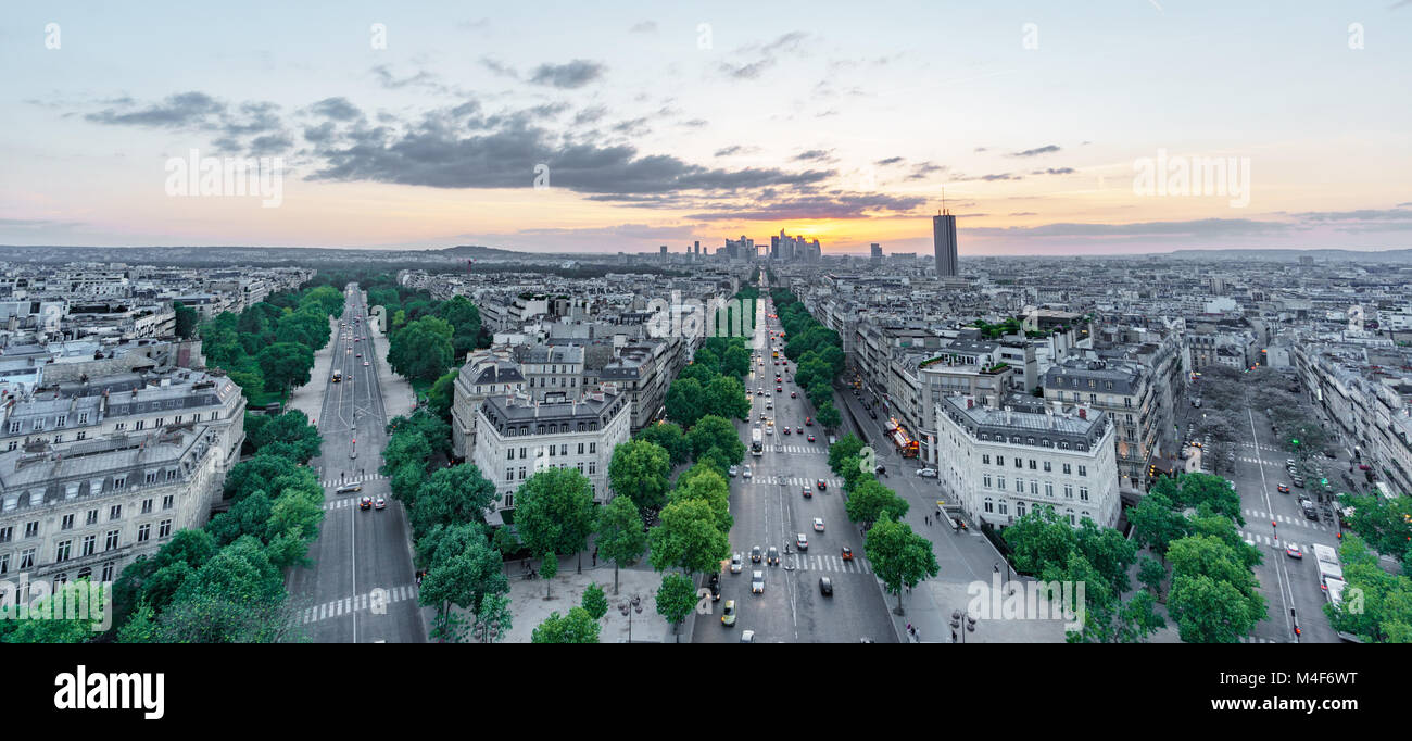 Sunset skyline of Paris with la defense and streets - Stock Image