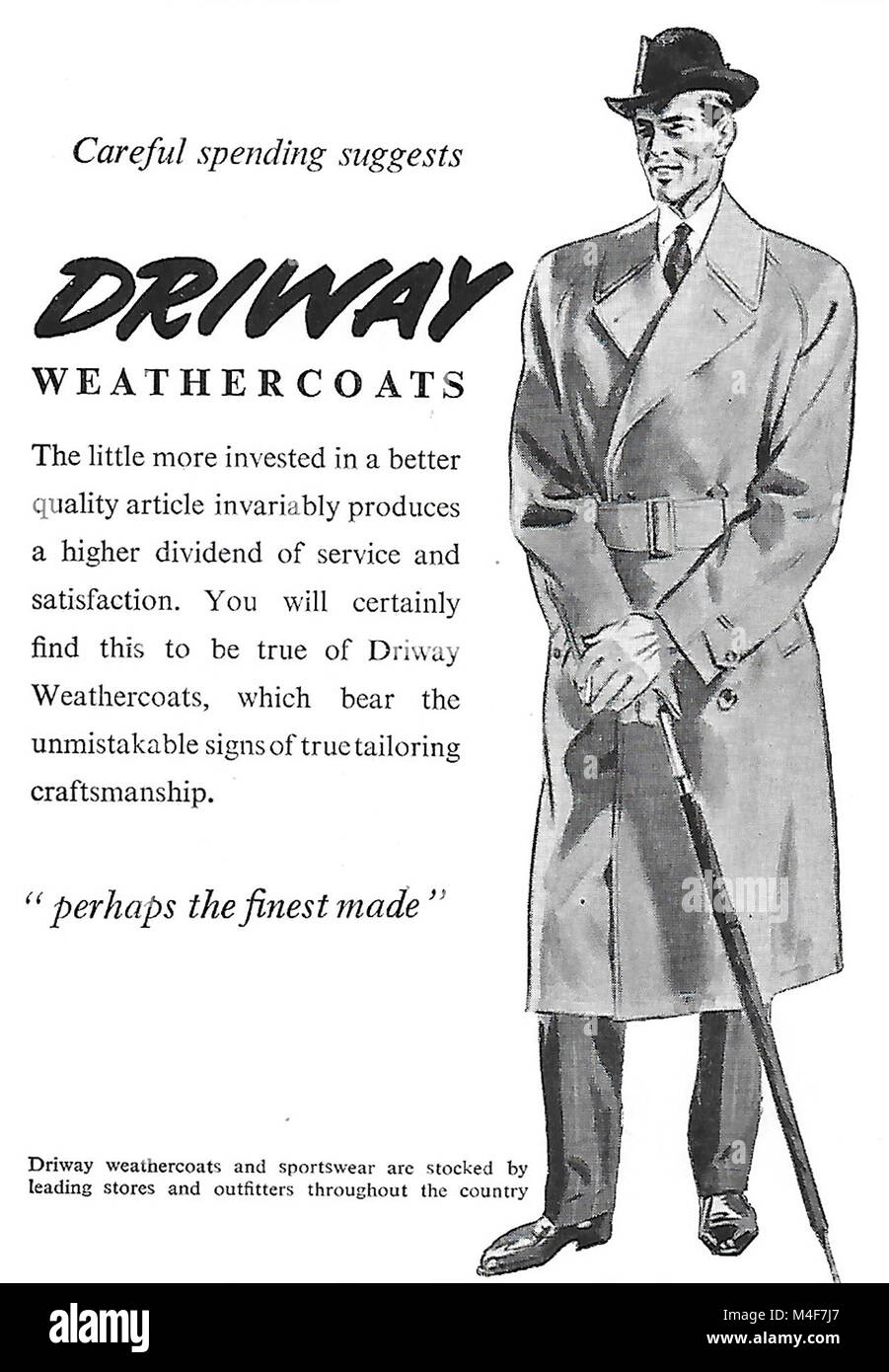 Driway weather coat overcoats coats advert, advertising in Country Life magazine UK 1951 - Stock Image