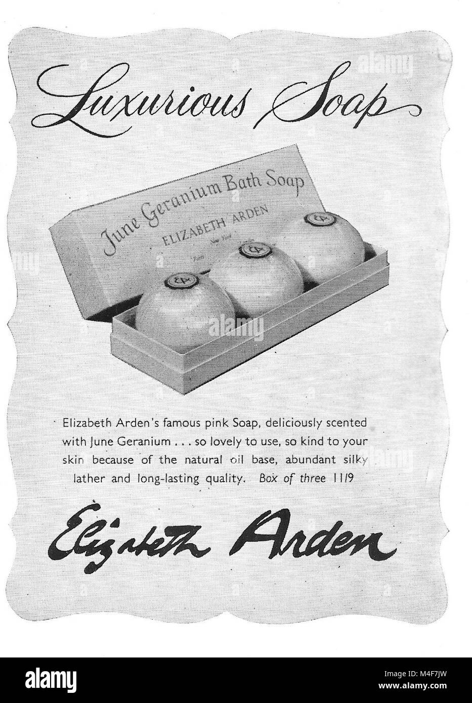 Elizabeth Arden luxurious soap soaps advert, advertising in Country Life magazine UK 1951 - Stock Image