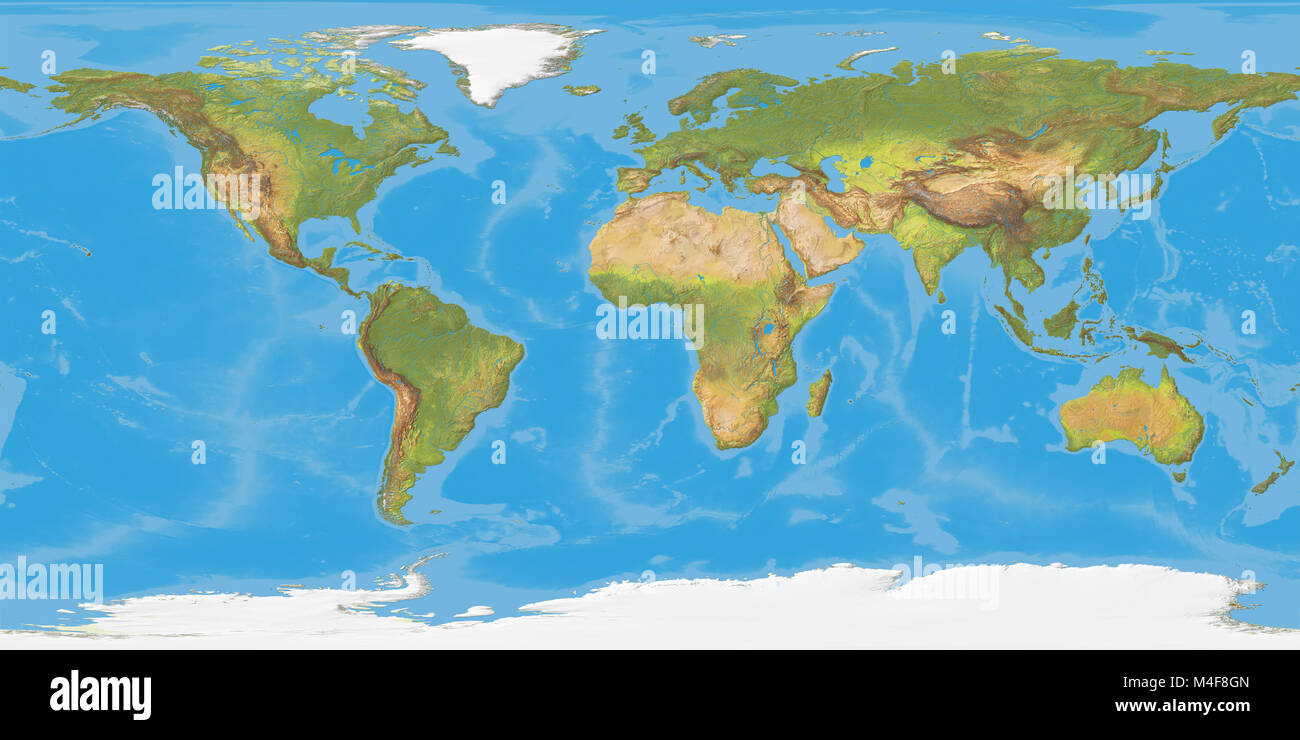 World map, shaded relief. Colored according to natural appearance.  Projection:  Geographic. Suitable for wrapping - Stock Image