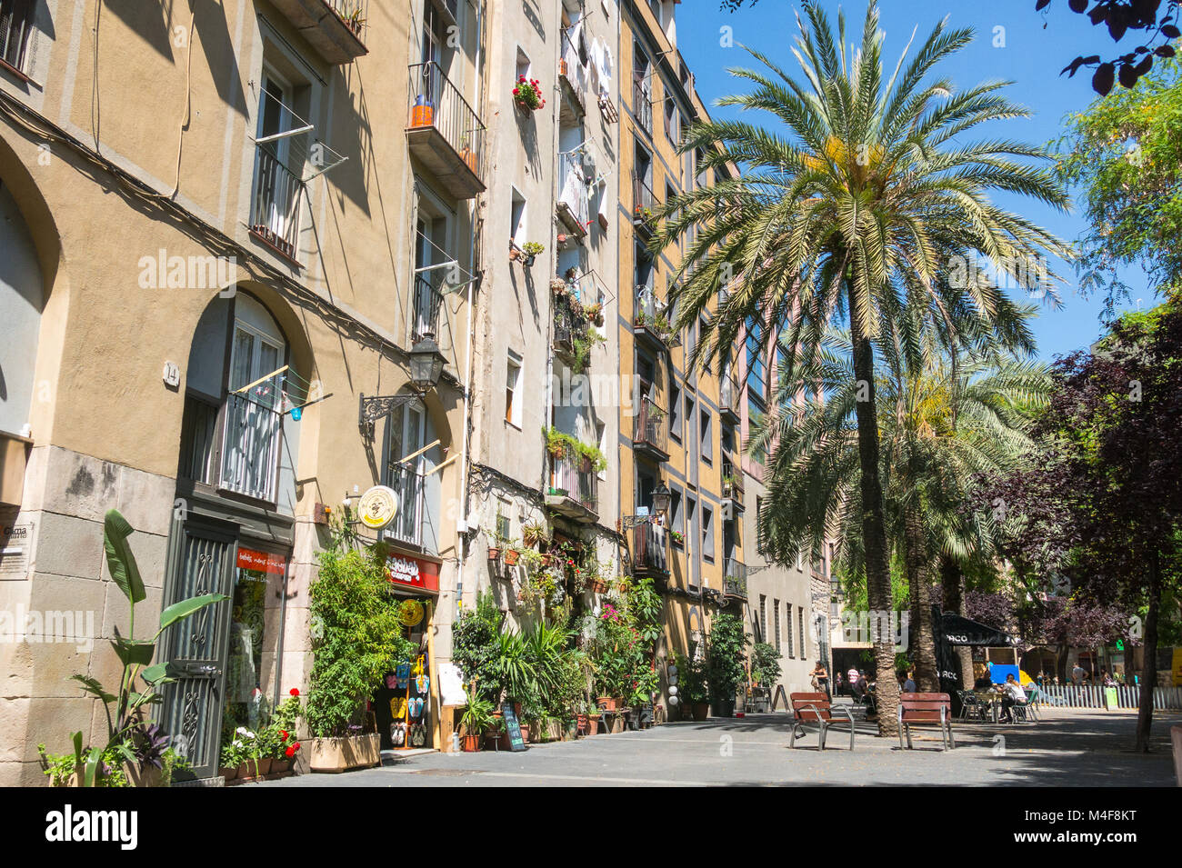 Old streets of the Gothic Quarter of Barcelona, Catalonia. It is centre of old city of Barcelona. Center of touristic - Stock Image
