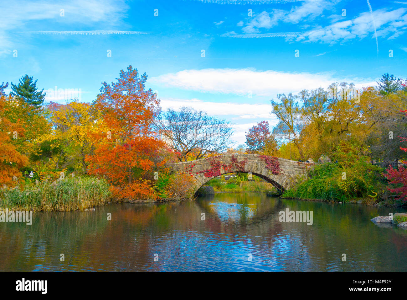 Gapstow bridge in a colorfull fall morning - Stock Image