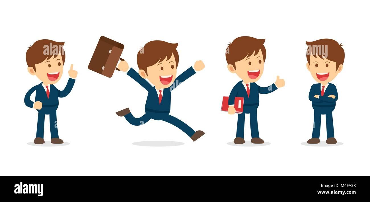 Set Of Businessman Working Character Design Flat Office Cartoon