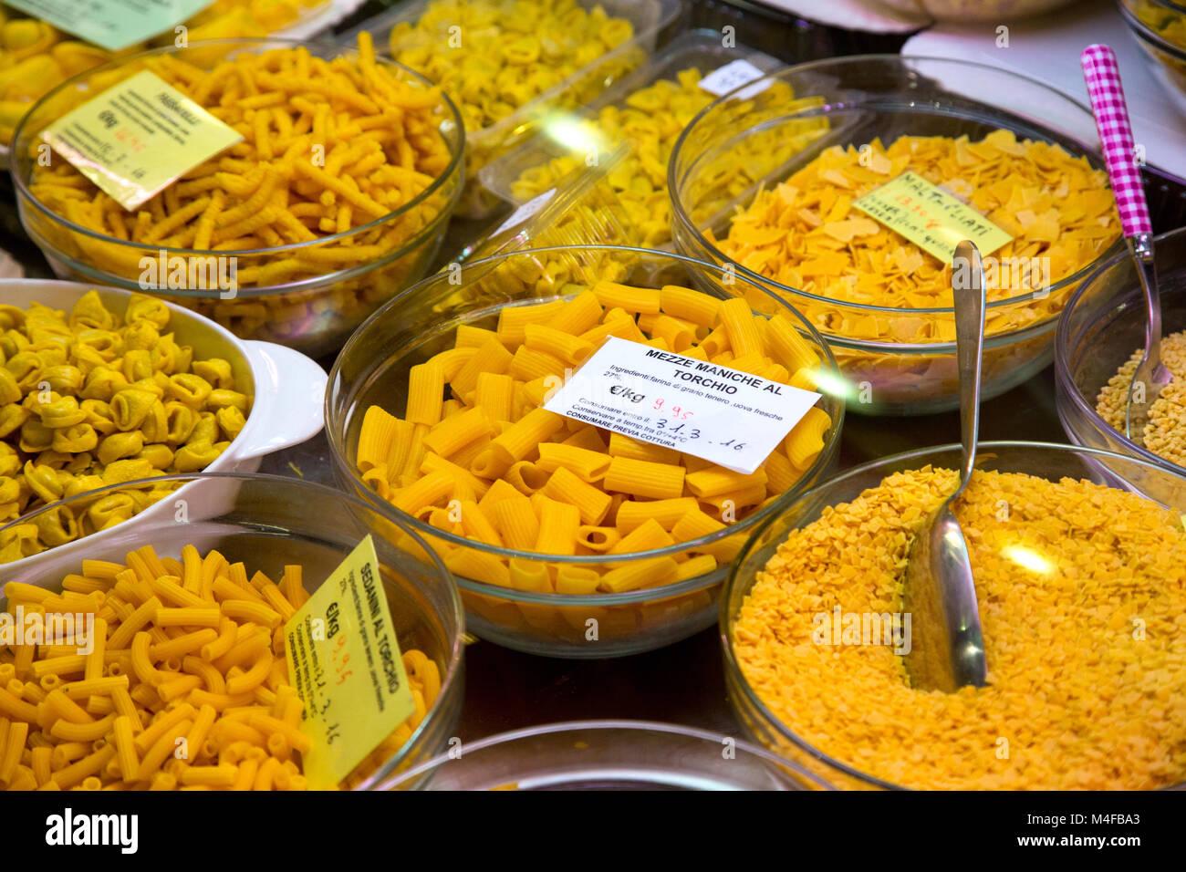 Pasta in Mercato Albinelli in Modena Italy - Stock Image