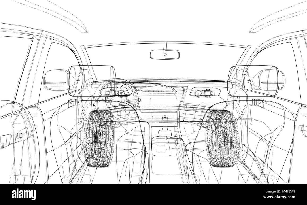 Sketch of car interior. Vector rendering of 3d Stock Vector Art ...
