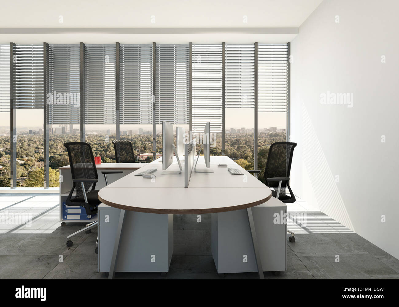 office workspace design. Modern Office With Triple Workspace Design Around A Single Table Desk In Front Of Large View Windows Blinds. 3d Render