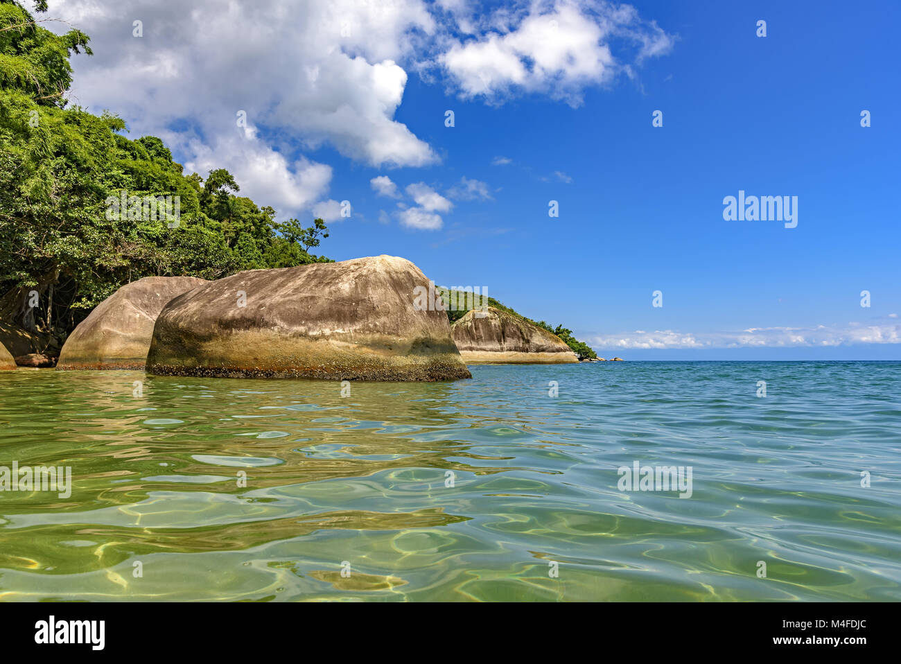 Deserted and unspoilt beach with forest - Stock Image