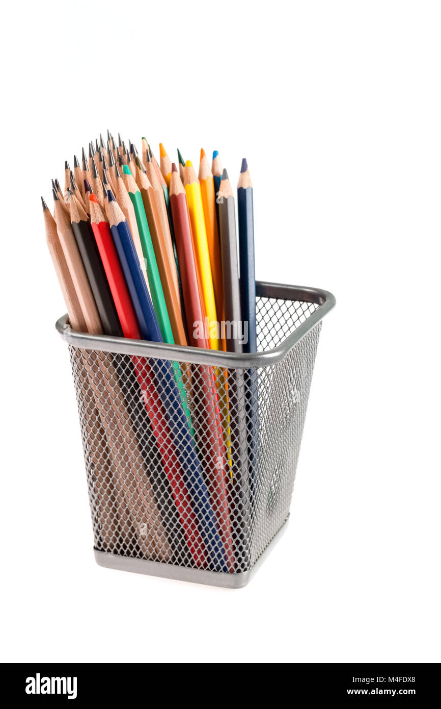 color pencils in metal pot Stock Photo