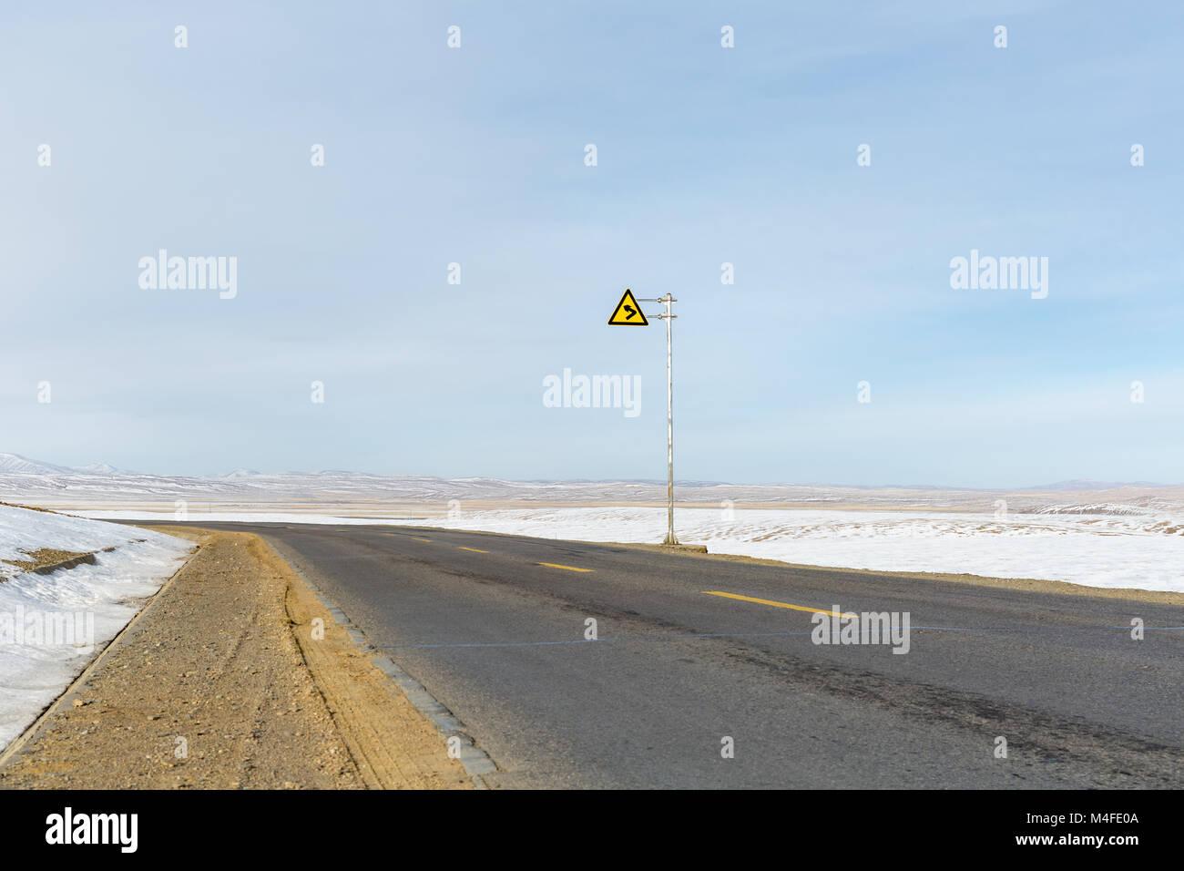 road on tibet plateau - Stock Image