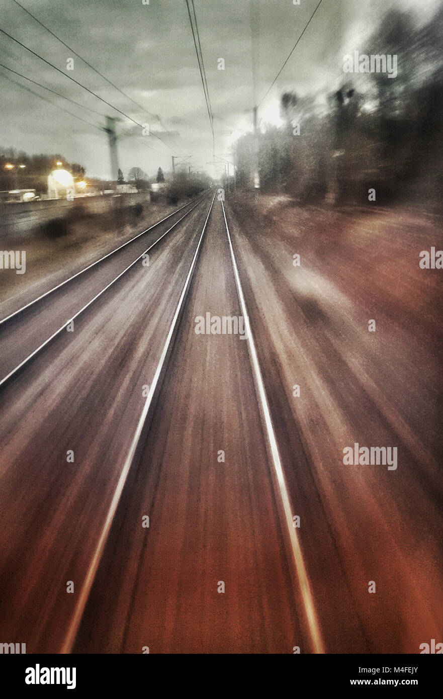 Abstract photo of railroad tracks, France, Europe - Stock Image