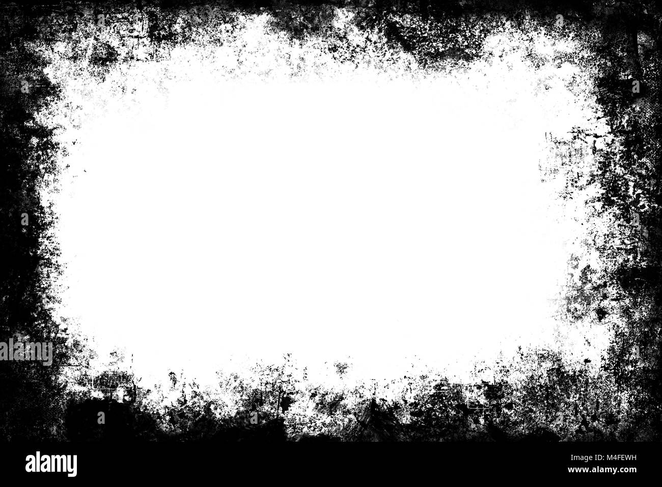Black grunge texture distressed border frame over white space Stock ...
