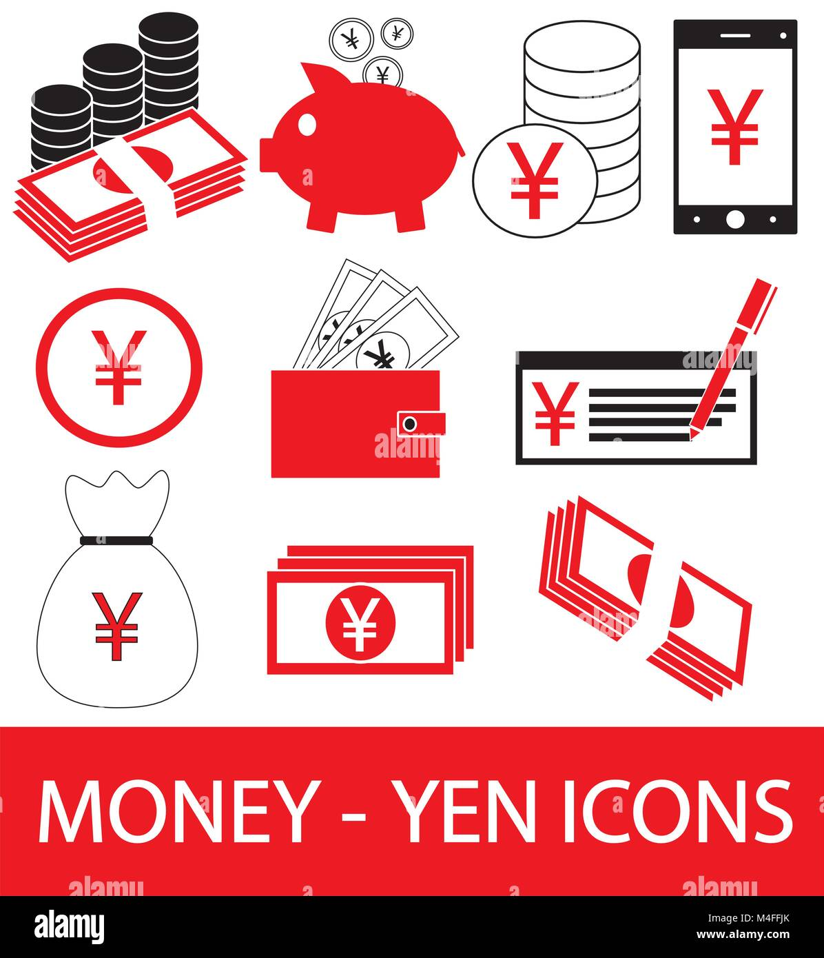 Set Collection Or Pack Of Yen Yuan Or Renminbi Currency Icon Or