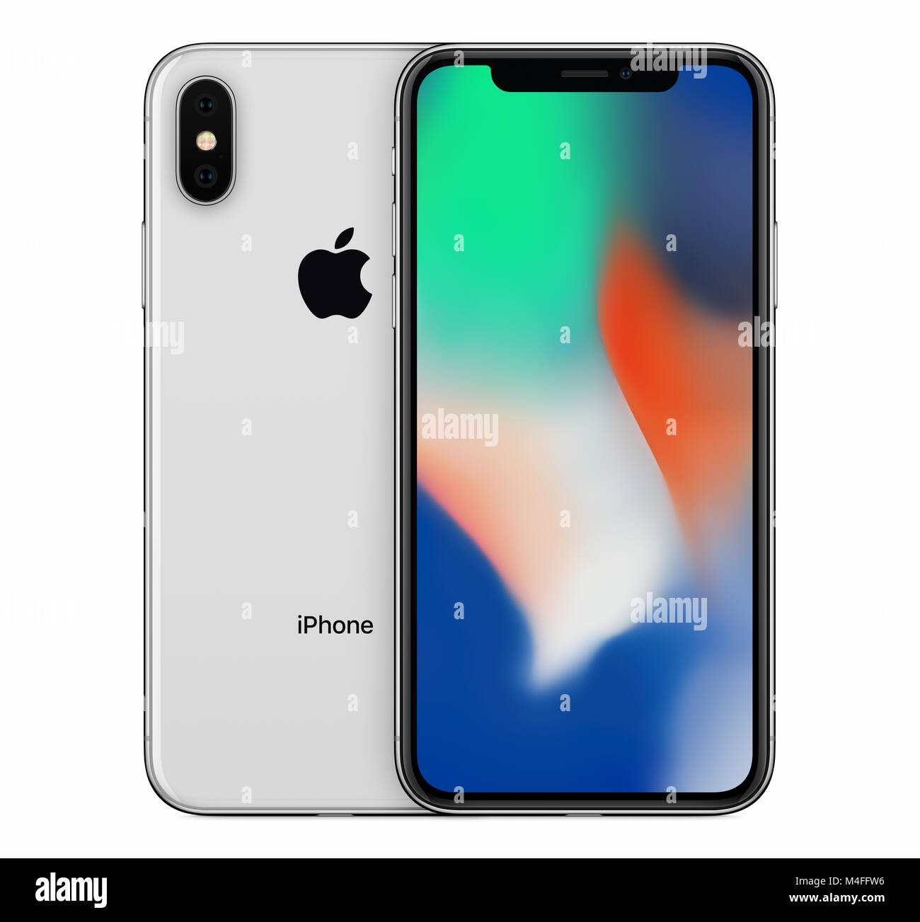 Silver Apple Iphone X Mockup Front View With Wallpaper Screen And