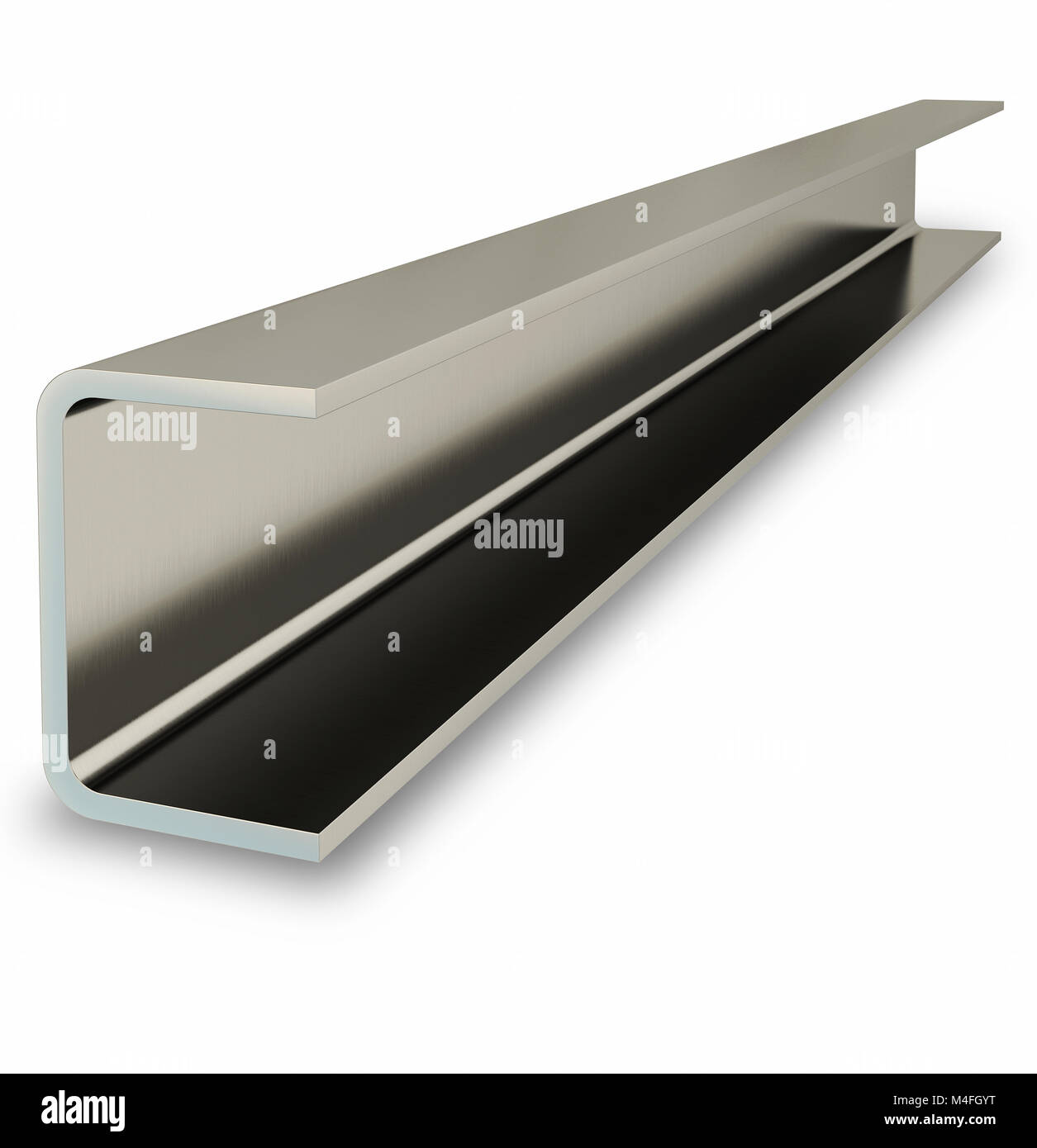 Steel channel beam isolated on white background. 3D rendering - Stock Image