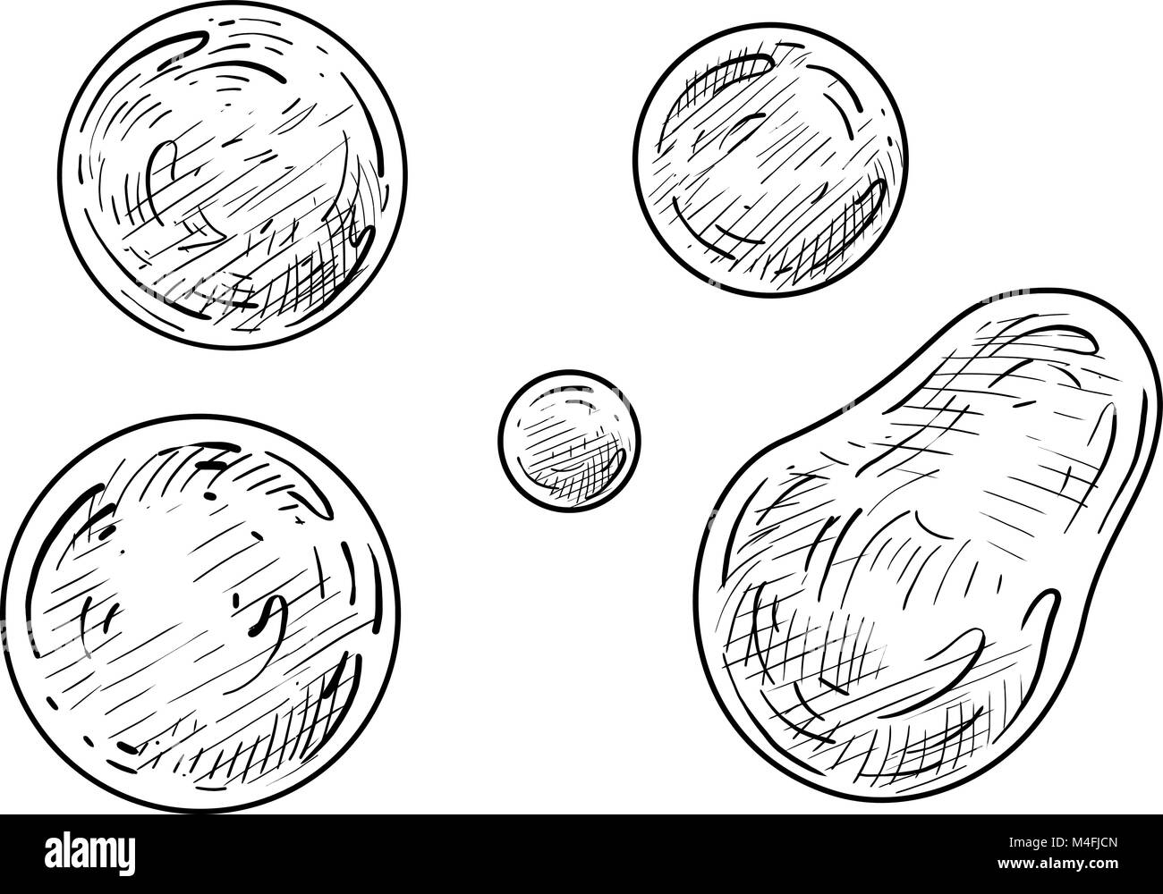 Soap bubble illustration, drawing, engraving, ink, line art, vector - Stock Vector