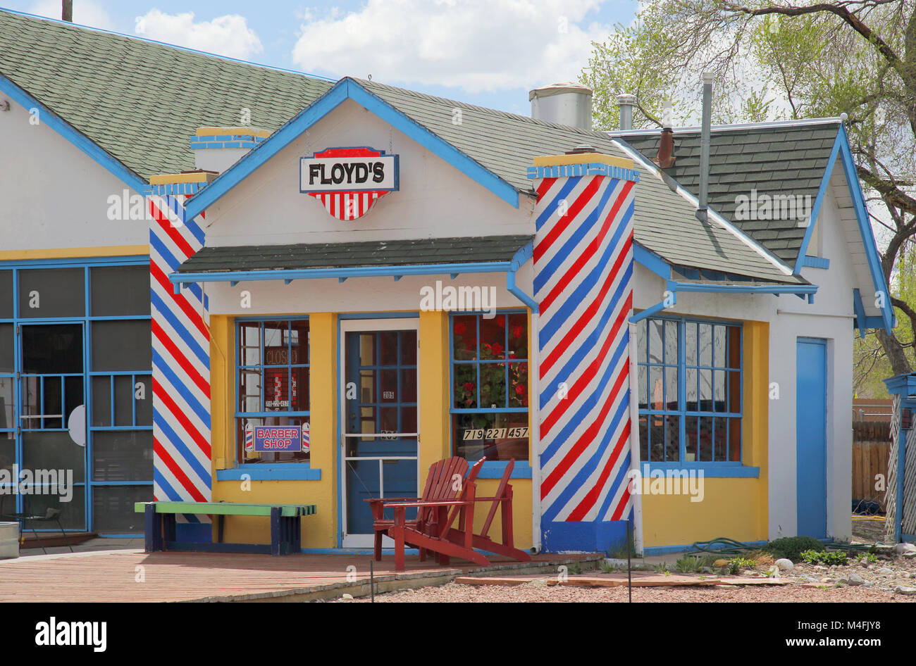 floyds barber shop in  Salida in colorado usa - Stock Image
