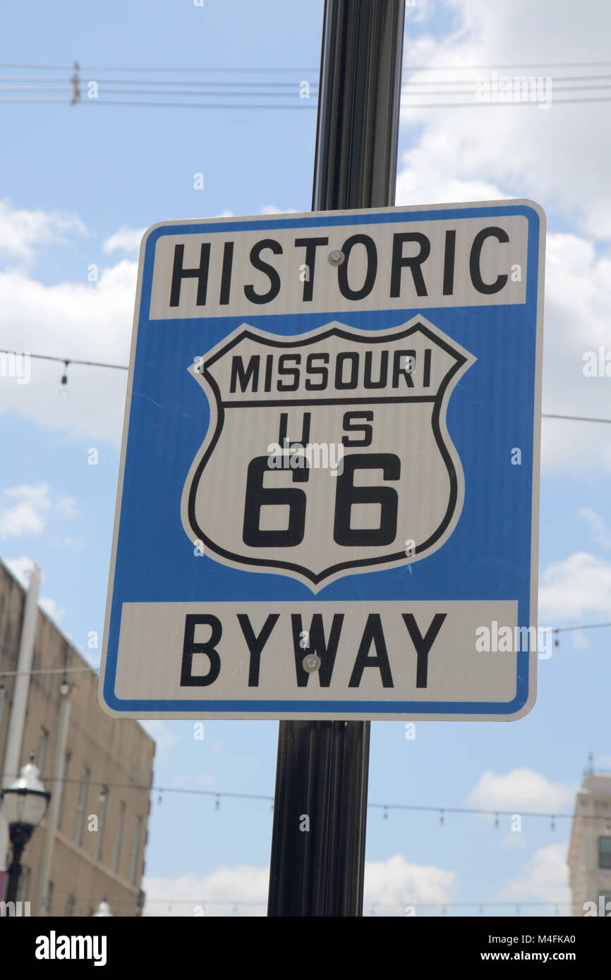 historic route 66 byway sign  in springfield missouri - Stock Image