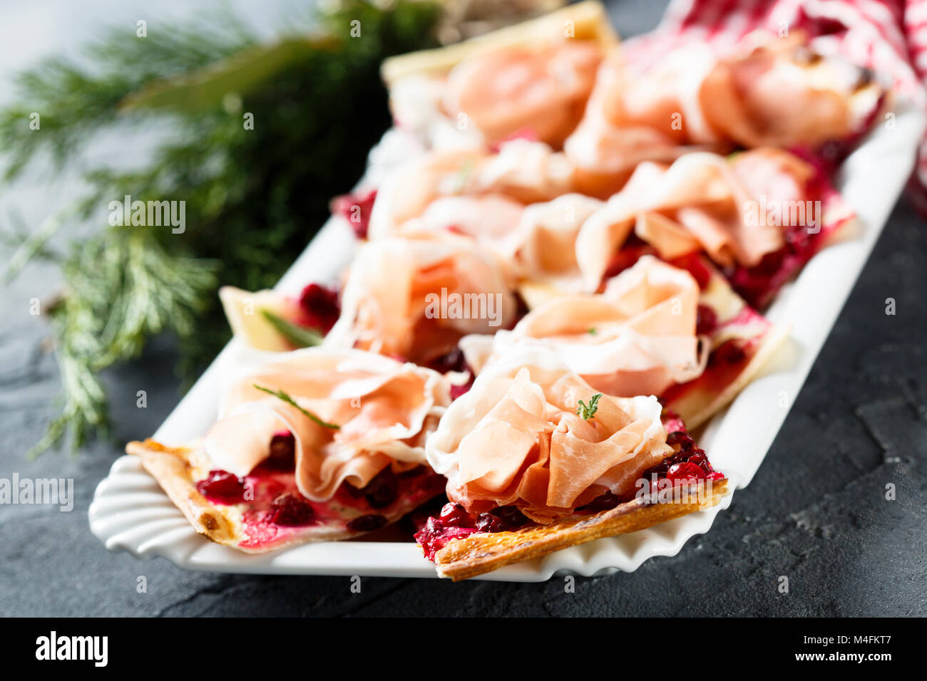 Homemade savory pie with cranberry - Stock Image