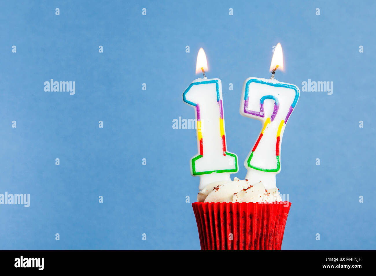 Superb Number 17 Birthday Candle In A Cupcake Against A Blue Background Funny Birthday Cards Online Alyptdamsfinfo