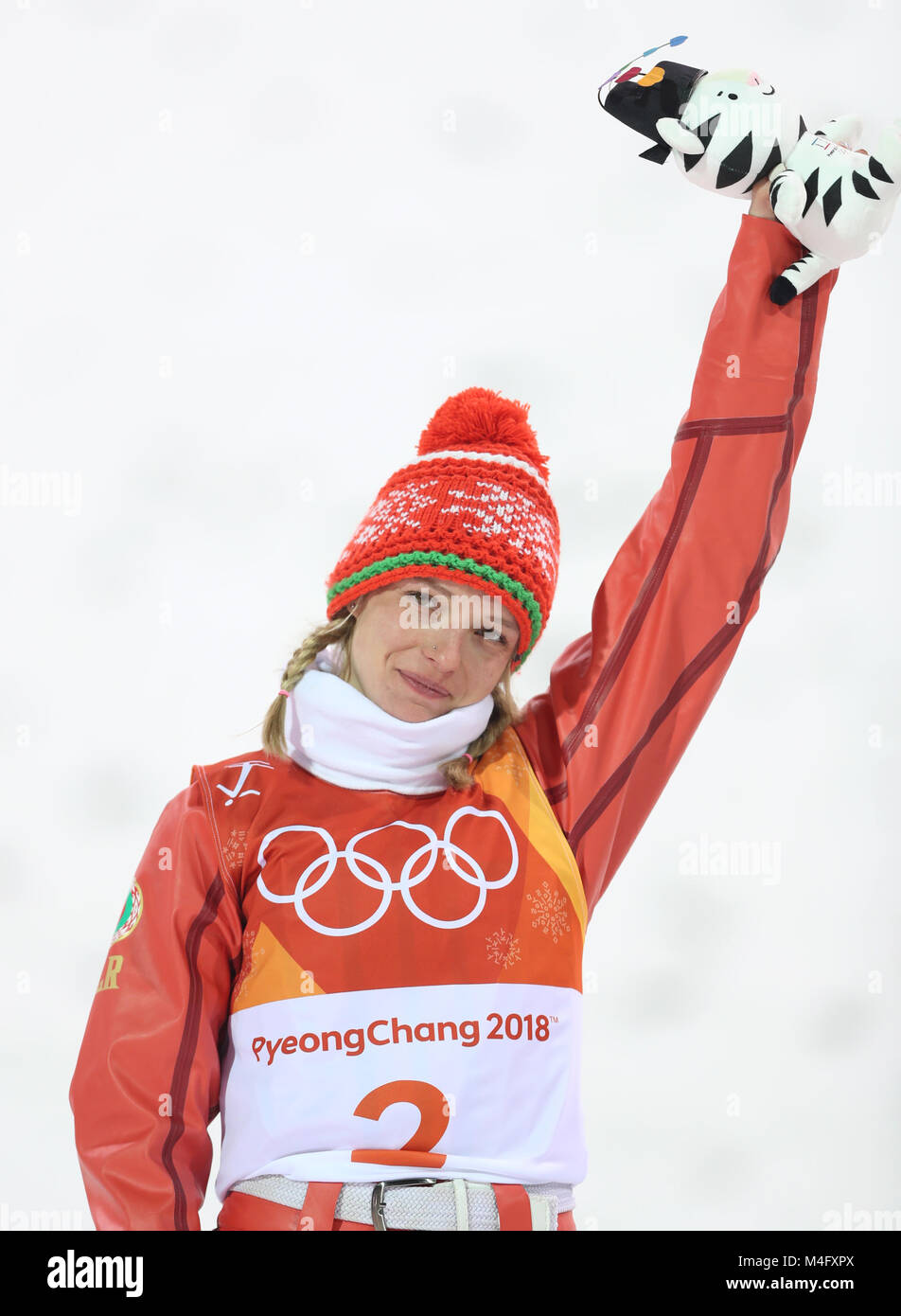 70ec02af8 Hanna Huskova of Belarus celebrates during venue ceremony of ladies   aerials of freestyle skiing at 2018 PyeongChang Winter Olympic Games at  Phoenix Snow ...
