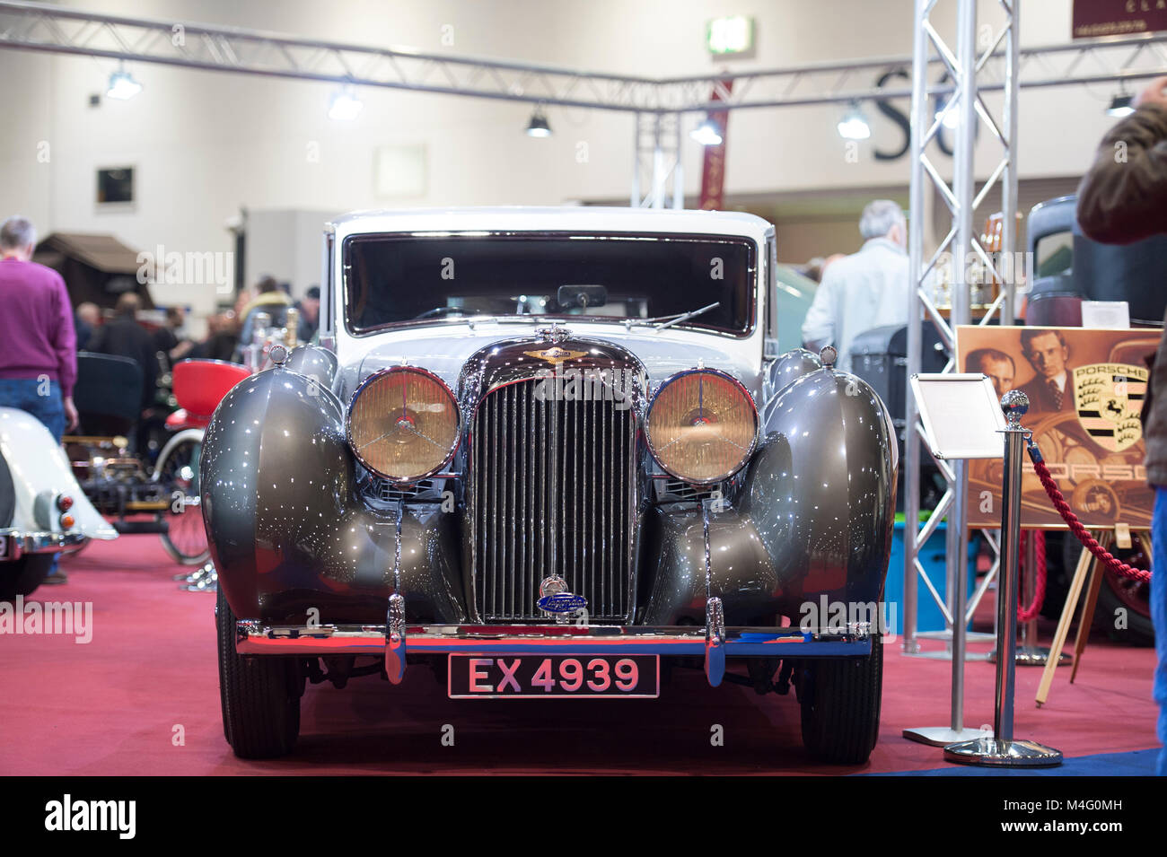 ExCel, London. 16 February 2018. Visitors flock to The London Classic Car Show, expanded this year to fill one side - Stock Image