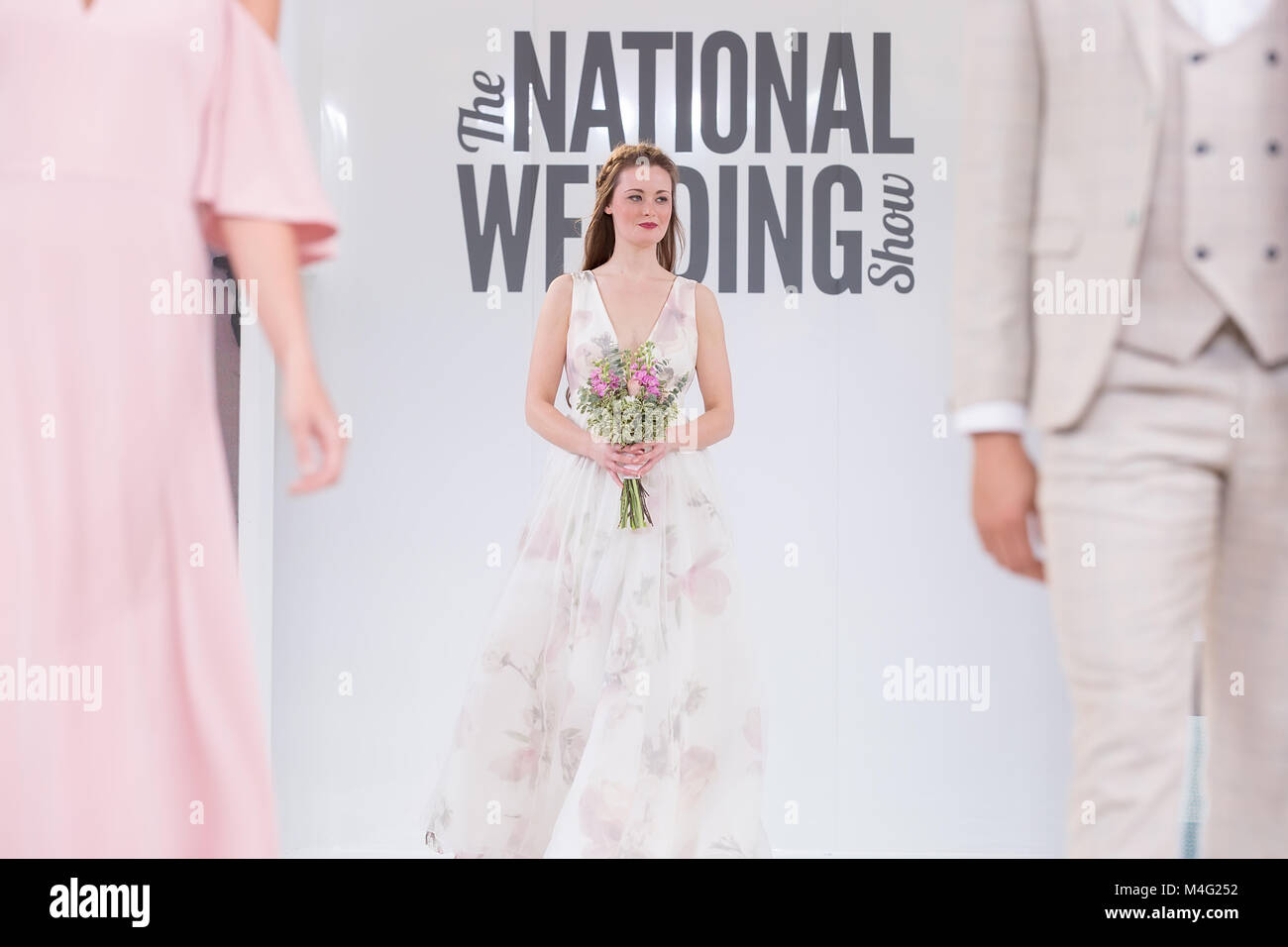 London, UK. 16 February 2018. Models on catwalk showcasing wedding ...