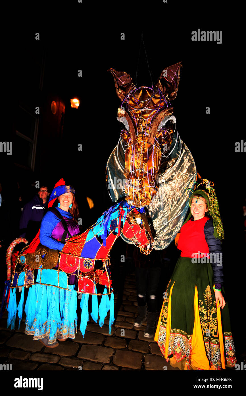 Oldham, UK. 16th Feb, 2018. Illuminated life size horse head and dancers at illuminate Oldham, 16th February, 2018 Stock Photo