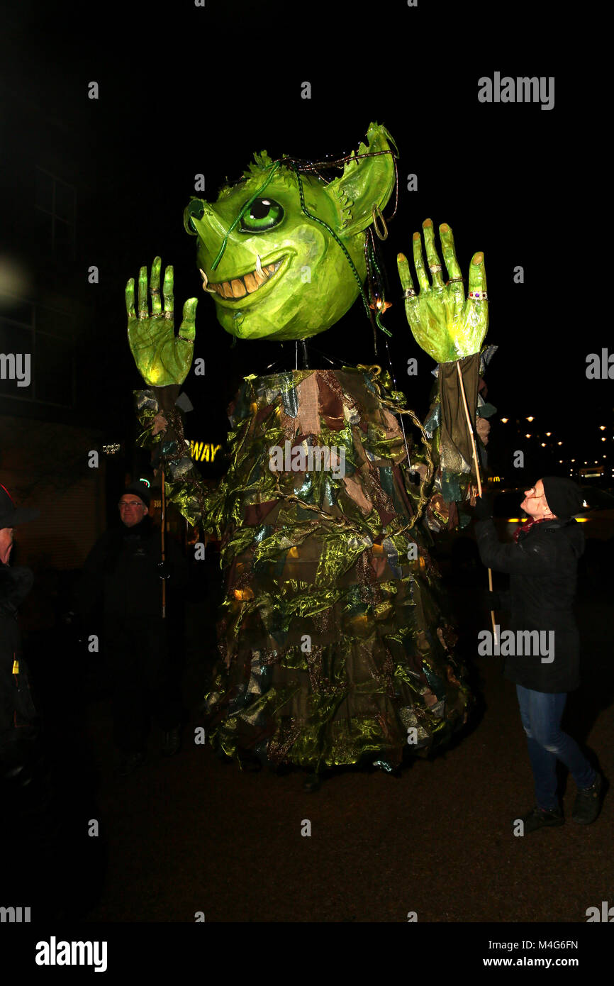 Oldham, UK. 16th Feb, 2018. A green illuminated puppet, Oldham, 16th February, 2018 (C)Barbara Cook/Alamy Live News - Stock Image