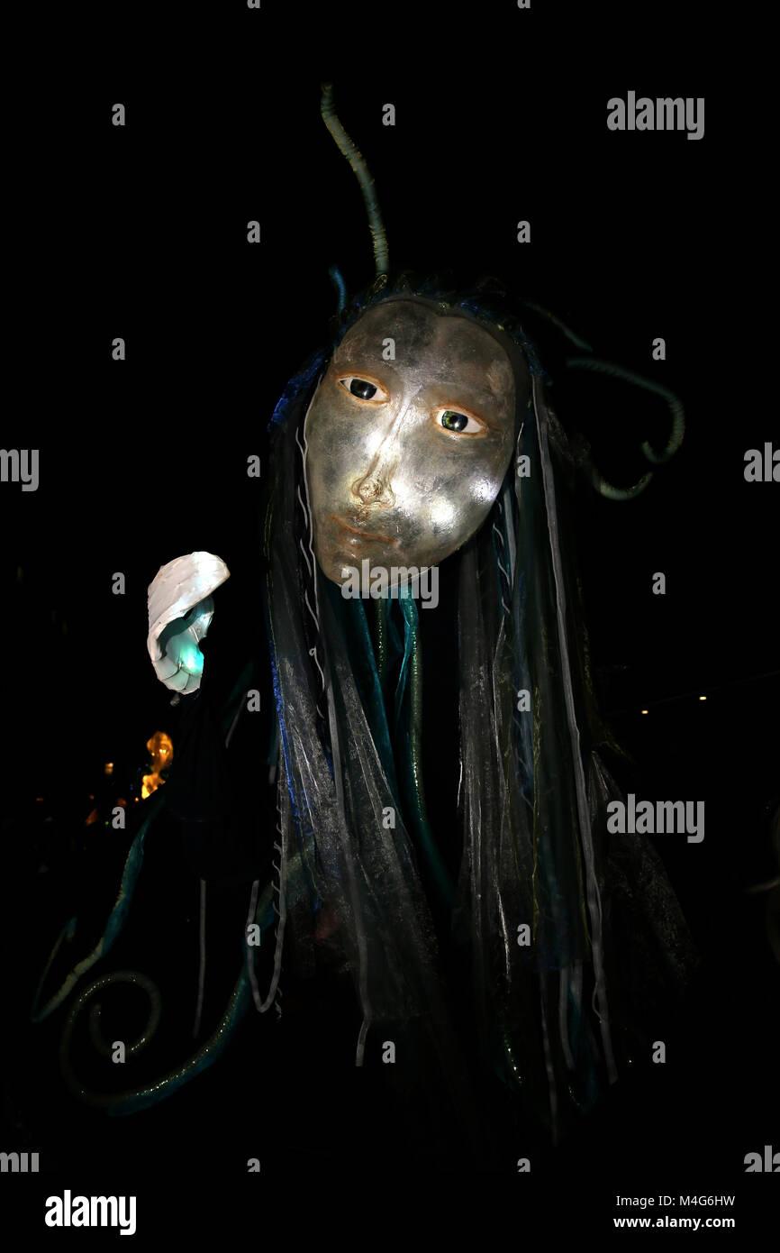 Oldham, UK. 16th Feb, 2018. A giant puppet illuminated, Oldham, 16th February, 2018 (C)Barbara Cook/Alamy Live News - Stock Image