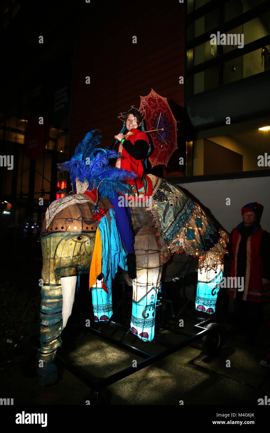 Oldham, UK. 16th Feb, 2018. An illuminated life size Elephant model, Oldham, 16th February, 2018 (C)Barbara Cook/Alamy - Stock Image