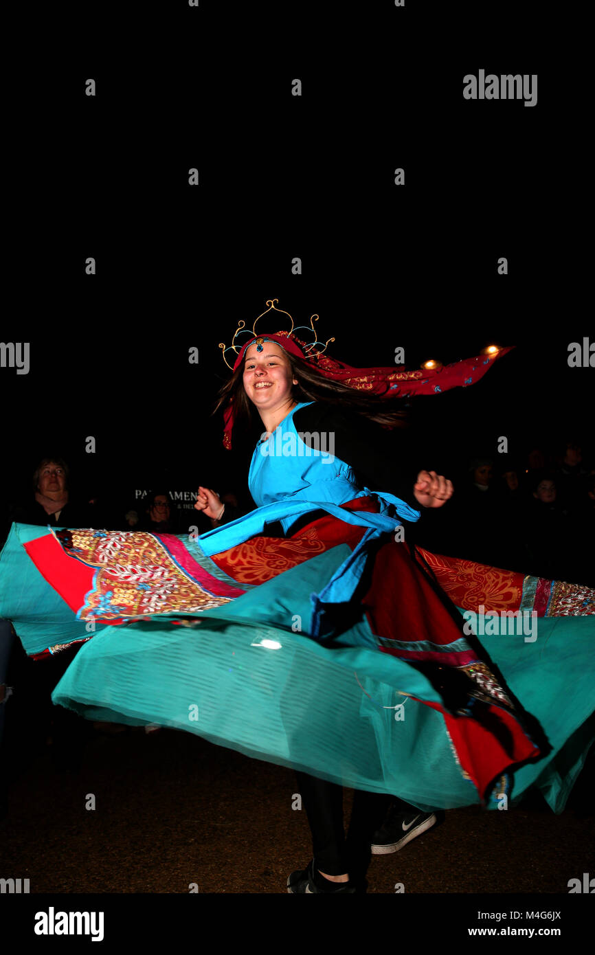 Oldham, UK. 16th Feb, 2018. A dancer takes part in entertainment at illuminate, Oldham, 16th February, 2018 (C)Barbara - Stock Image