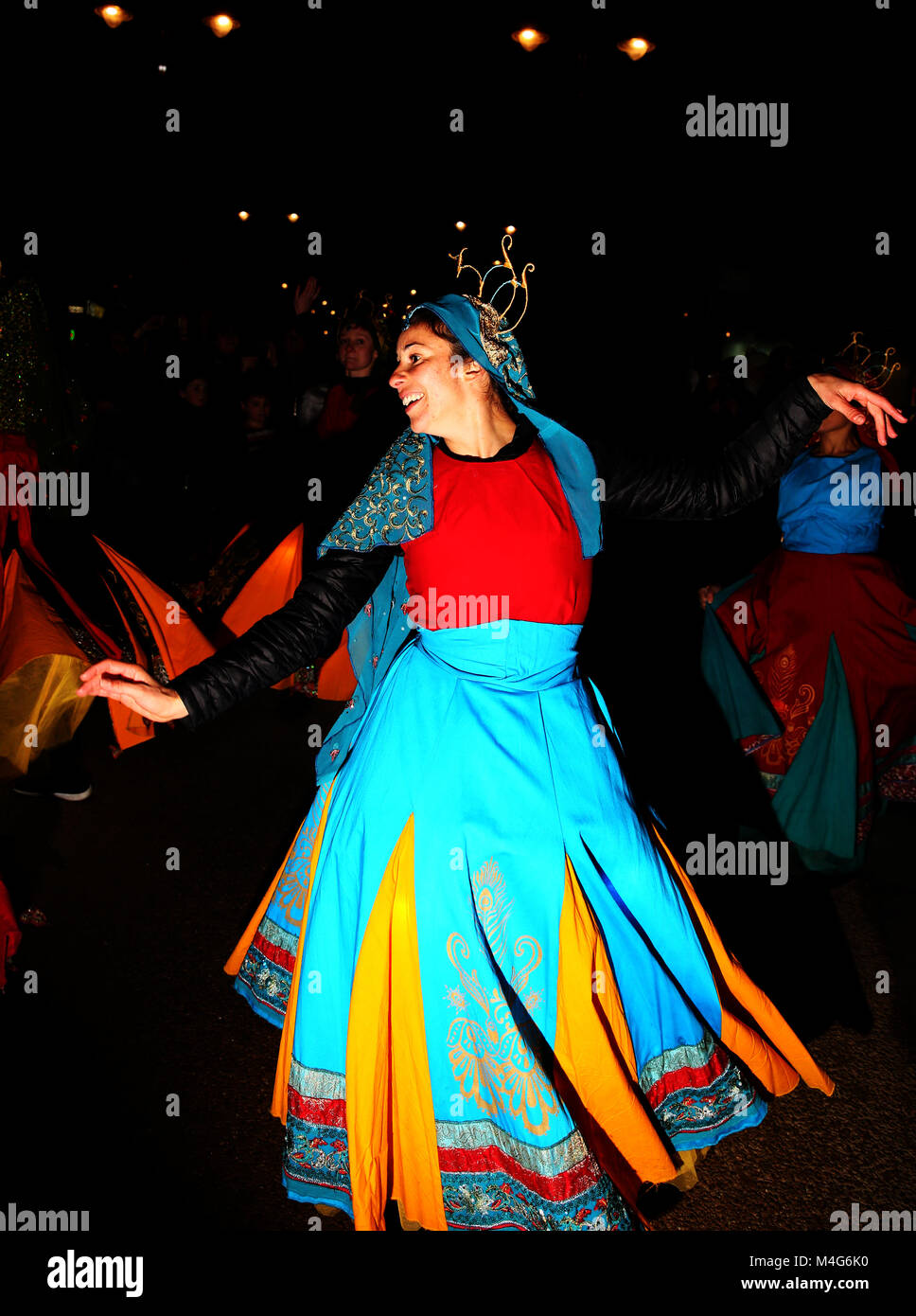 Oldham, UK. 16th Feb, 2018. A dancer takes part in entertainment at illuminate Oldham, 16th February, 2018 (C)Barbara Stock Photo