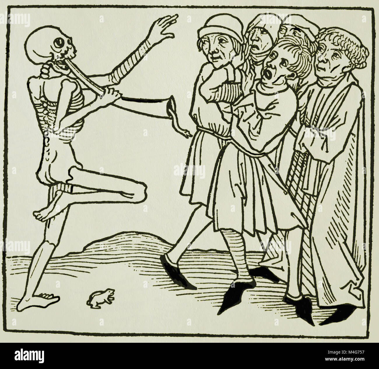 Dance of Death. Notables and the Death. Printed by Jacob Meydenbach, Germany 1492. Copy, - Stock Image