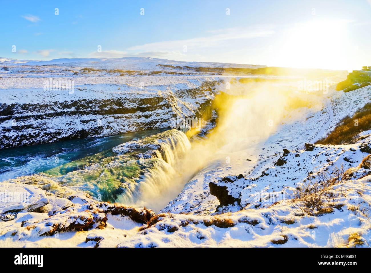 View of Gullfoss waterfall in winter, where is on the popular route of Golden Circle in southwest Iceland. - Stock Image