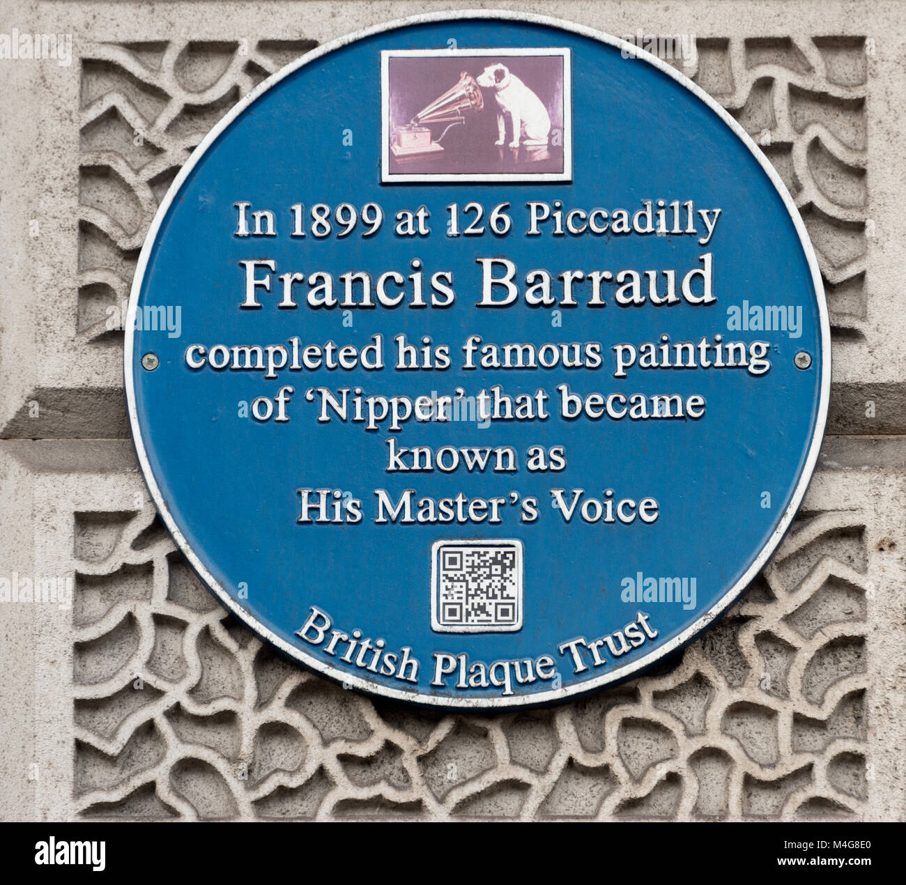 Blue Plaque to commemorate the paining of Nipper - the His Master's Voice dog - Stock Image