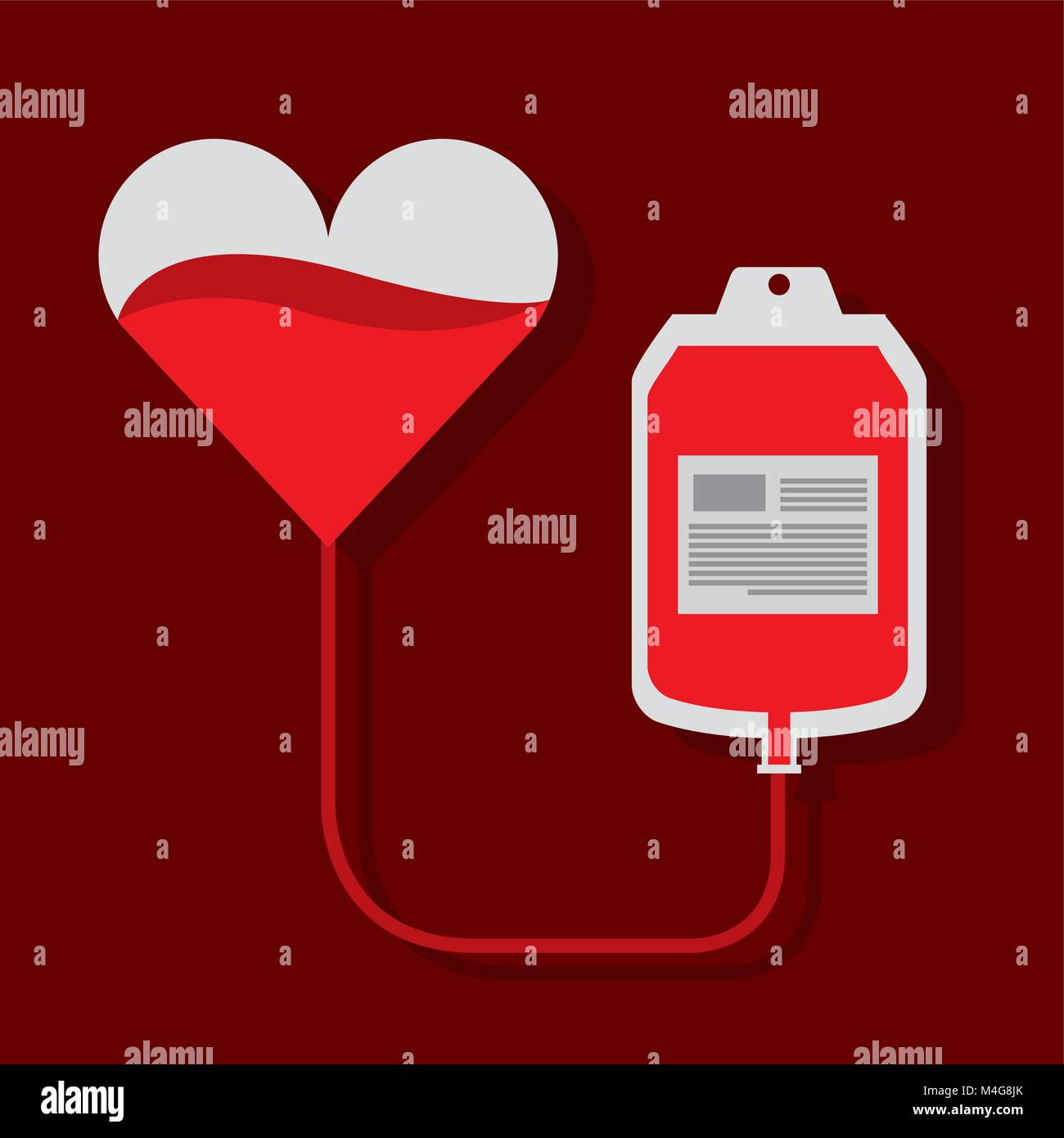 heart blood bag transfusion donation campaign - Stock Image