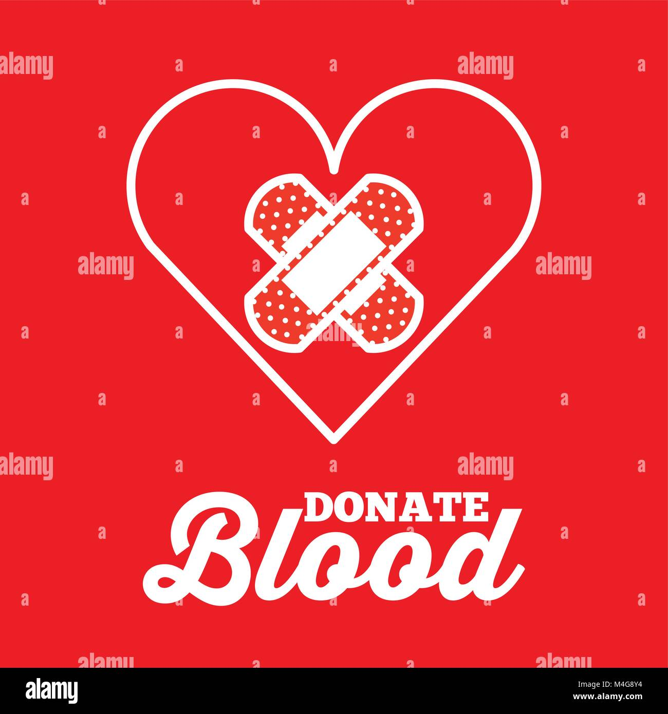 heart and plaster cross donate blood red background - Stock Image