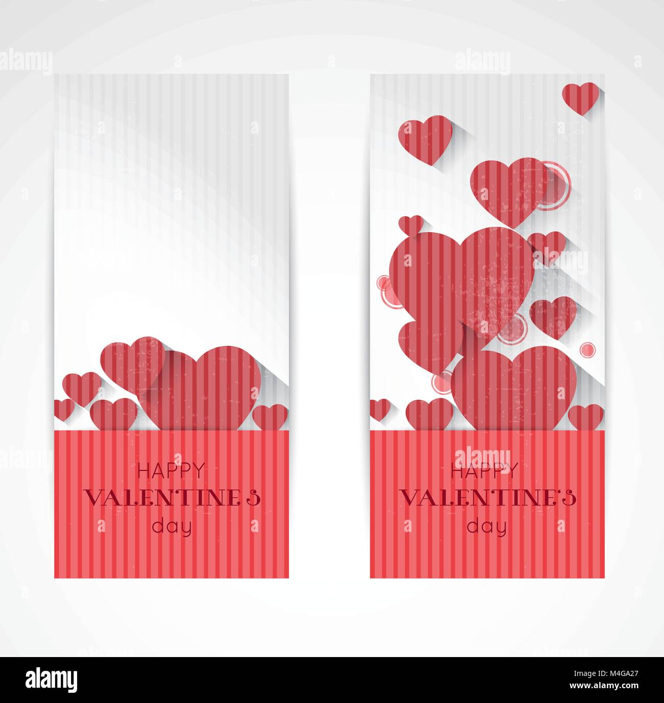 abstract valentine vertical banners in retro style with red hearts and long shadow effect - Stock Vector