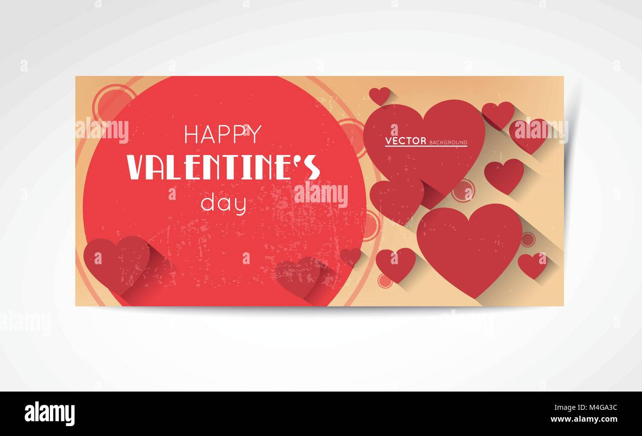 abstract valentine horizontal banners in retro style with red hearts and long shadow effect - Stock Vector