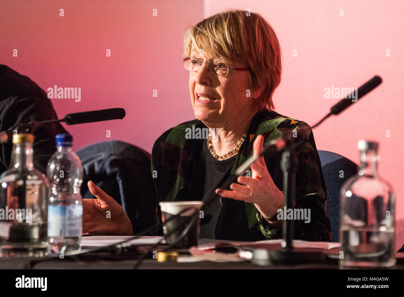 London, UK. 10th February, 2018. Anna Coote, Head of Social Policy at the New Economics Foundation, addresses the - Stock Image
