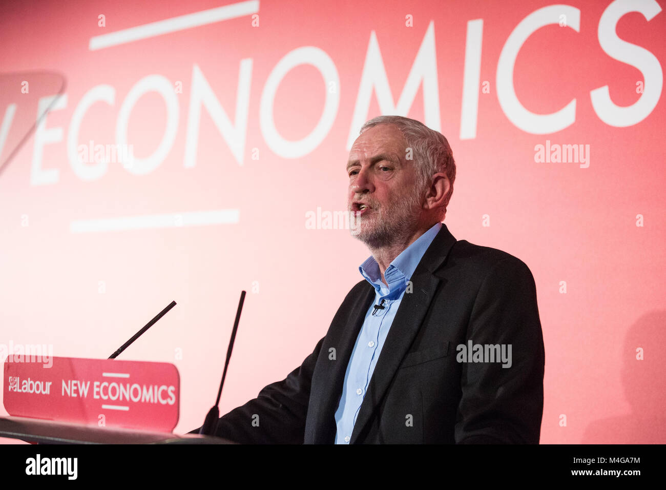 London, UK. 10th February, 2018. Jeremy Corbyn MP, Leader of the Opposition, addresses the Labour's Alternative - Stock Image