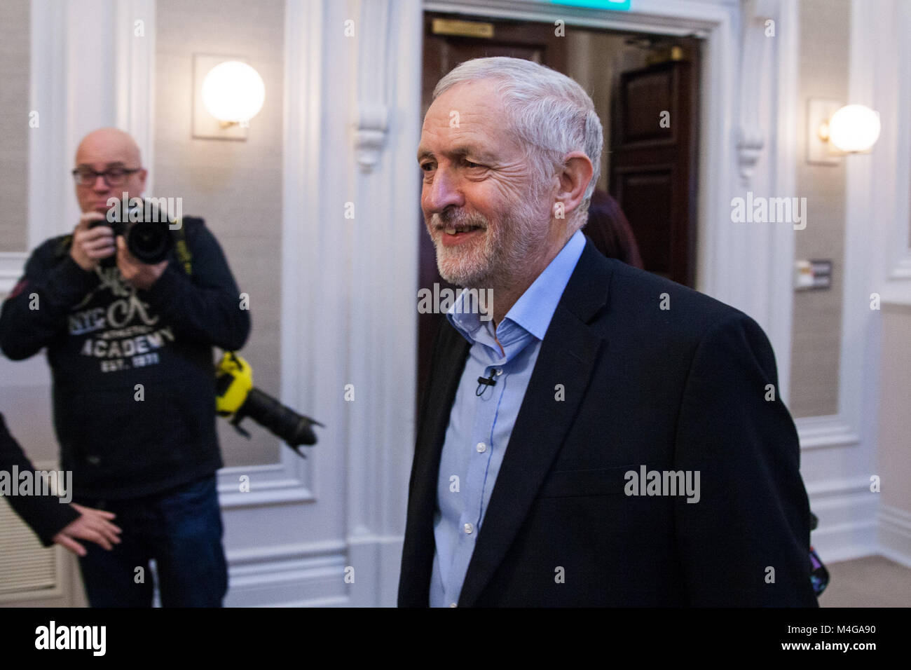 London, UK. 10th February, 2018. Jeremy Corbyn MP, Leader of the Opposition, arrives to address the Labour's Alternative - Stock Image