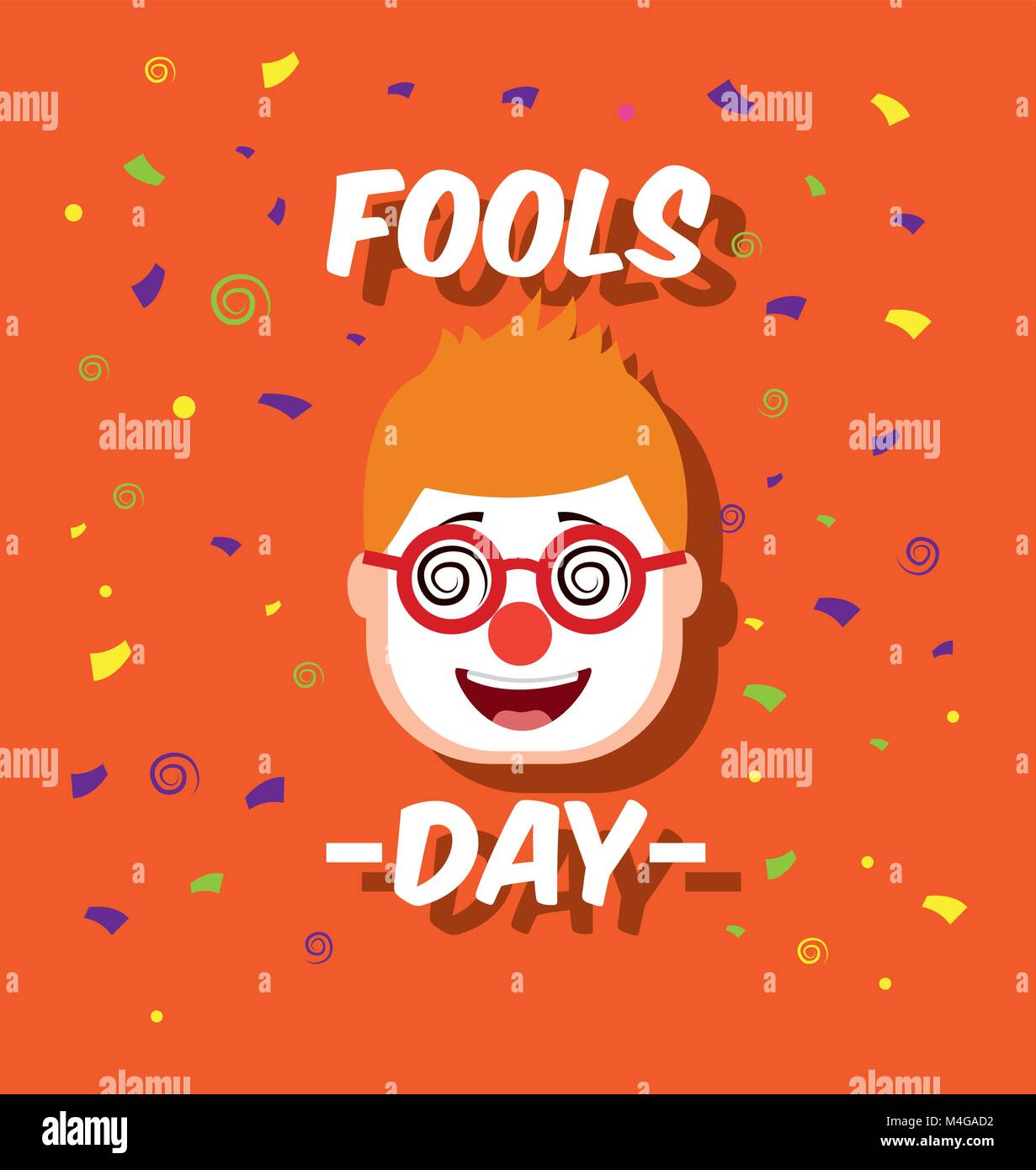 man face with funny clown mask glasses fools day - Stock Vector