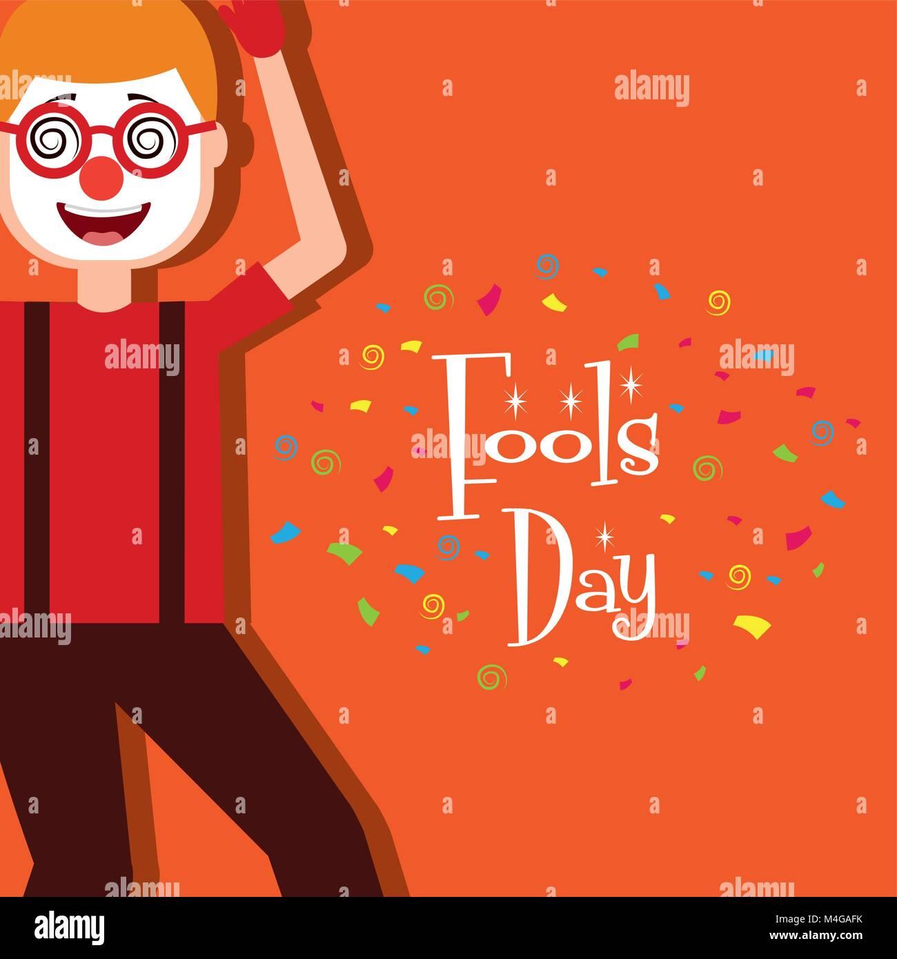 cartoon man wearing clown mask glasses fools day - Stock Vector
