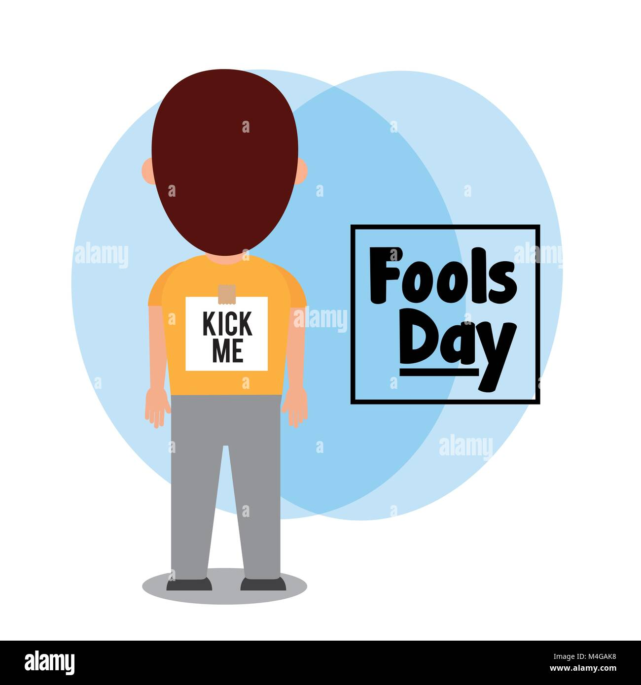 back man with sticker kick me fools day - Stock Image