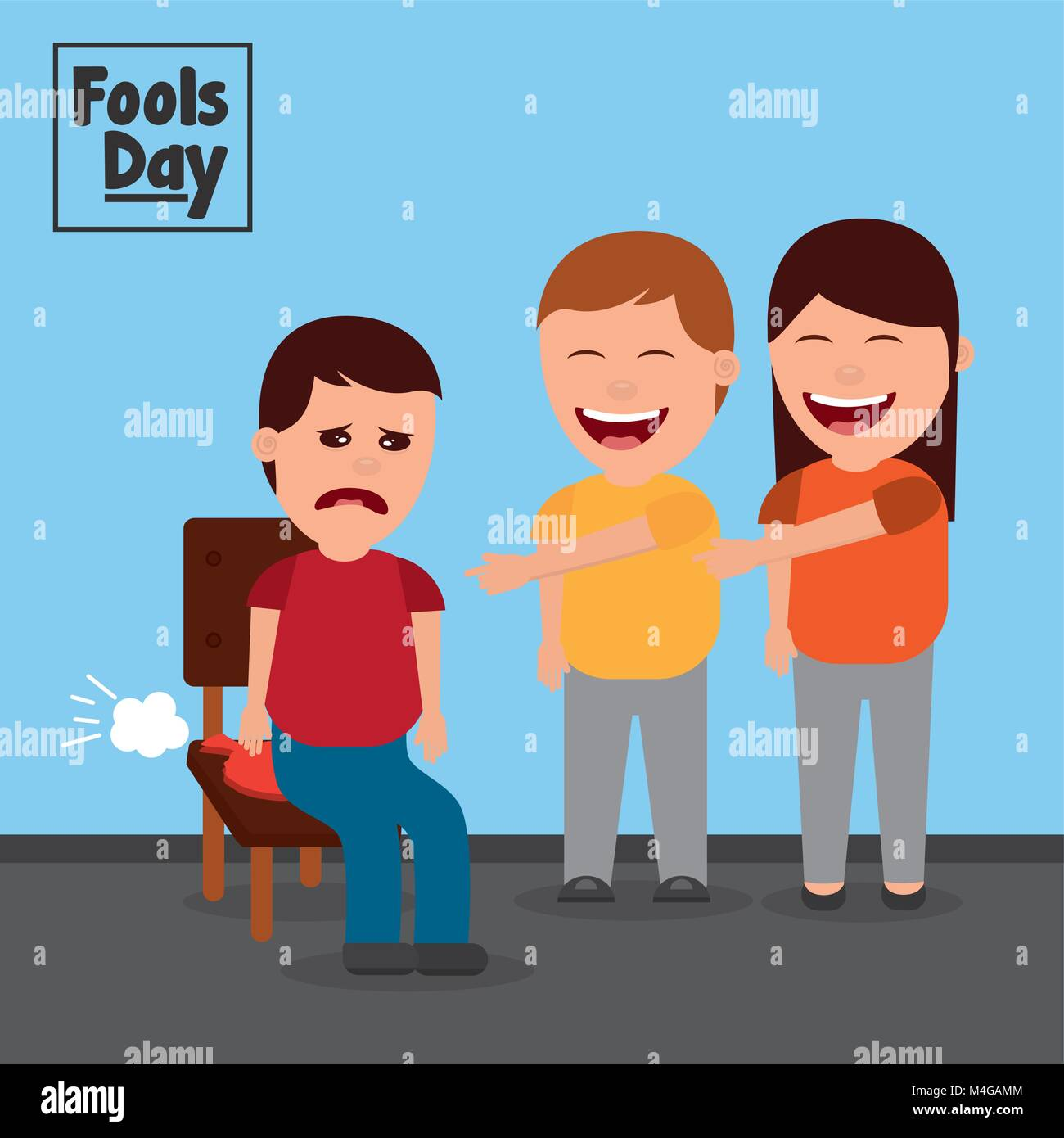 man and woman make joke a friend with cushion fools day - Stock Image
