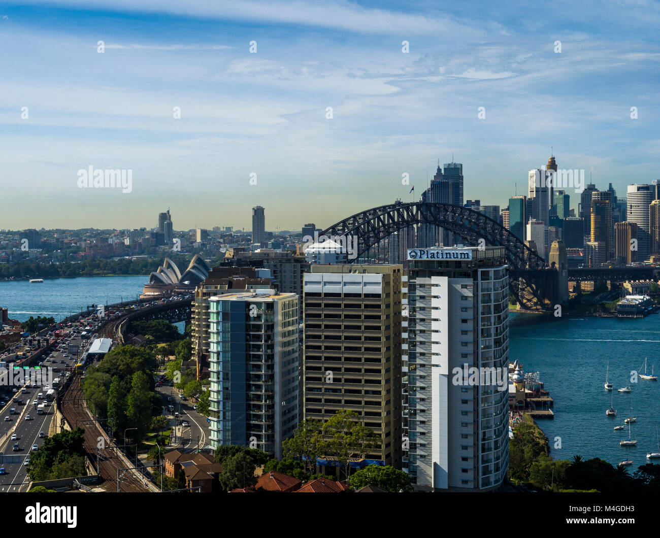 Sydney Harbour view from North Sydney, Sydney, New South Wales, Australia - Stock Image