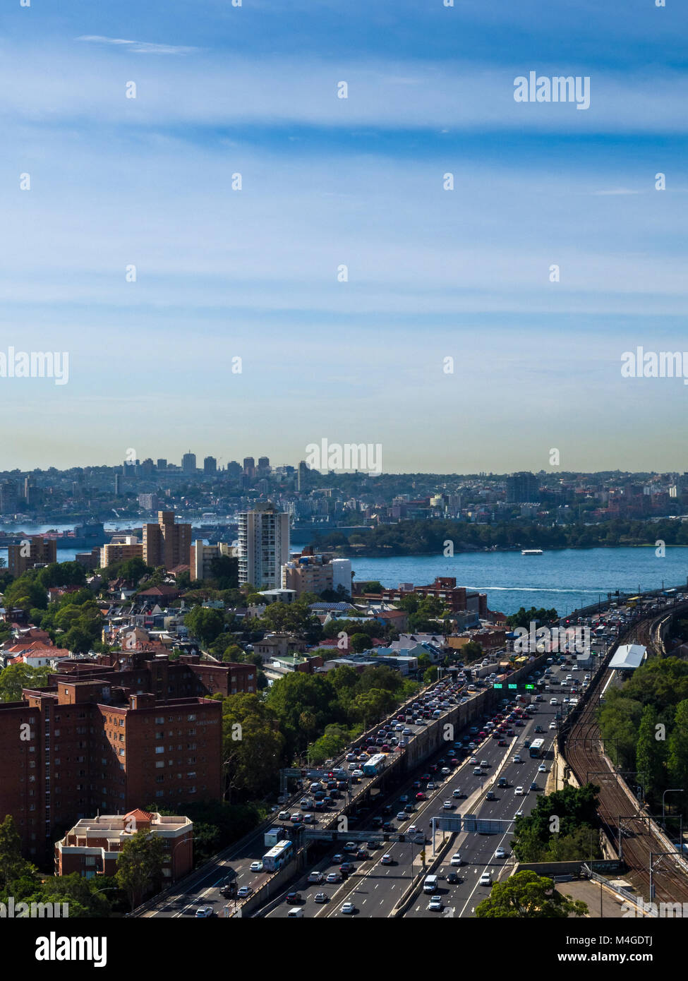 Traffic building up on Cahill Expressway ahead of crossing Sydney Harbour Bridge, Sydney, NSW, Australia - Stock Image