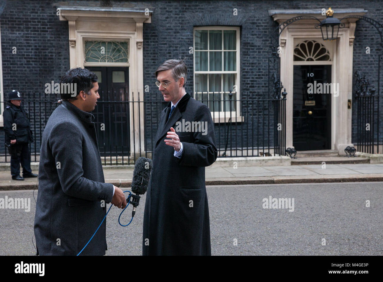 London, UK. 8th February, 2018. Jacob Rees-Mogg MP is interviewed by Sky News's Faisal Islam outside 10 Downing - Stock Image